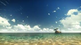 Agua tropical, pájaros con el yate y gente, nubes del lapso de tiempo ilustración del vector