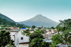 Agua Volcano at dusk. From the roof of a home in Antiqua, Guatemala royalty free stock images
