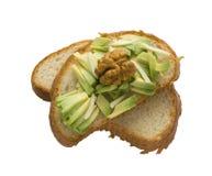 Aguacate en el pan tostado fotografía de archivo libre de regalías