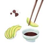 Aguacate que sumerge en la salsa de soja y aguacate cortado, comiendo el aguacate Imagen de archivo libre de regalías