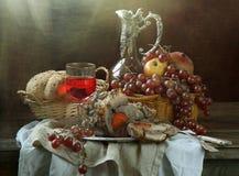 Aguacate, queso, nueces, hojas de la ensalada verde y vino Imagenes de archivo