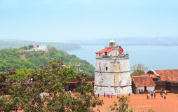 Aguada Fort and old lighthouse was built in the 17th century. This fort is well preserved. Royalty Free Stock Photography