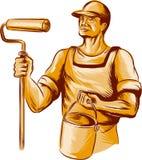 Aguafuerte de Holding Paint Roller del pintor de casas stock de ilustración