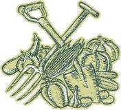Aguafuerte de la cosecha de la cosecha del bieldo de la espada Imagenes de archivo