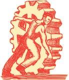 Aguafuerte de Rolling Cog Wheel del obrero Imágenes de archivo libres de regalías