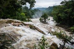 Agual Azul, Overstroomde Rivier, de motie van het voorzichtigheidswater in Chiapas, trav Royalty-vrije Stock Foto's