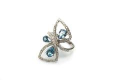 Aguamarina Diamond Ring del WG de 18 Ct Foto de archivo