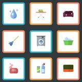 Aguamarina plana de los iconos, lavadero, Sofa And Other Vector Elements Sistema de iconos planos de la higiene ilustración del vector