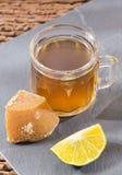 Panela with lemon drink - Citrus × limon stock photo