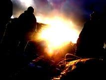 Aguardar puesta del sol Foto de archivo libre de regalías