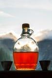 Aguardente bebendo da ameixa após uma excursão de caminhada longa nas montanhas mim fotografia de stock royalty free