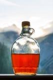 Aguardente bebendo da ameixa após uma excursão de caminhada longa nas montanhas mim imagens de stock royalty free