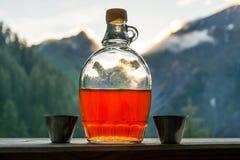 Aguardente bebendo da ameixa após uma excursão de caminhada longa nas montanhas mim imagem de stock