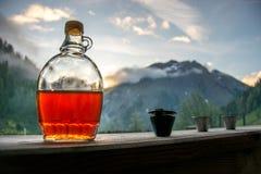 Aguardente bebendo da ameixa após uma excursão de caminhada longa nas montanhas mim foto de stock