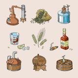 Aguardente da bebida do álcool do vetor do uísque no vidro e na bebida escocêses ou bourbon no grupo da ilustração da garrafa de  ilustração stock