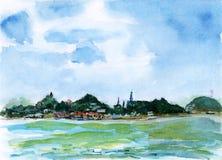 Aguarela da ilha de gulangyu de Xiamen Fotografia de Stock Royalty Free