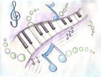 Aguarela de chaves & de notas do piano Imagens de Stock