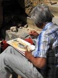 Aguarela sênior da pintura da senhora Imagens de Stock Royalty Free
