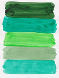 Aguarela verde Handpainted foto de stock