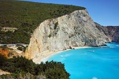 Aguas azules de la playa de Oporto Katsiki, Lefkada Fotografía de archivo libre de regalías