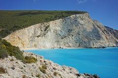 Aguas azules de la playa de Oporto Katsiki, Lefkada Fotografía de archivo