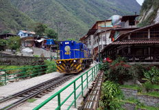 Aguas Calientes. An Incarail train departing from Aguas Calientes on the Way to Ollantaytambo stock images