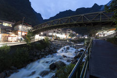Aguas Calientes nighttime Obrazy Royalty Free