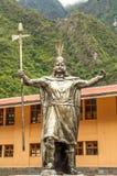 Aguas Calientes. Statue of Pachacutec in Aguas Calientes royalty free stock photos