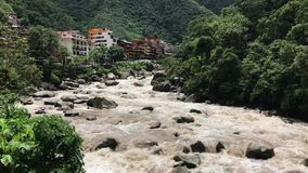 Aguas Calientes town stock video footage