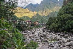 Aguas Calientes village, near Machu Picchu royalty free stock photos