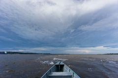 Aguas de Encontro das sobre el barco Imagenes de archivo
