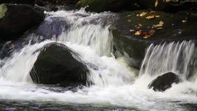 Aguas del rastro del motor de la bifurcación del rugido en las montañas ahumadas almacen de metraje de vídeo