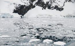 Aguas heladas y reflexión de la montaña Fotos de archivo libres de regalías