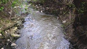 Aguas residuales que fluyen y ambiente de la contaminación. almacen de video