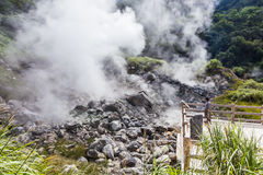 Aguas termales de Unzen y paisaje del infierno de Unzen en Nagasaki, Kyushu Foto de archivo