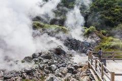 Aguas termales de Unzen y paisaje del infierno de Unzen en Nagasaki, Kyushu Fotos de archivo libres de regalías