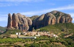Aguero, Huesca, Spanien lizenzfreies stockbild