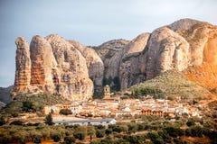 Aguero wioska w Hiszpania Obrazy Royalty Free