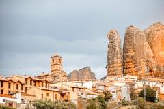 Aguero wioska w Hiszpania Obrazy Stock