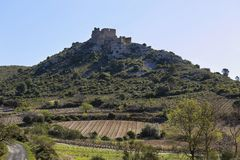 ` Aguilar för Chateau D i Frankrike arkivbild