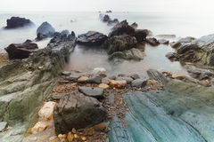 Aguilar plaża Cudillero, Asturias, Hiszpania Zdjęcia Stock