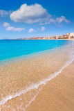 Aguilas Poniente beach Murcia in Spain. Aguilas beach Murcia Poniente bay at Mediterranean sea of Spain Royalty Free Stock Photo