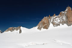 Aguille du Midi. Summer view of Mont Blanc massif and mer de glace glacier Royalty Free Stock Photos