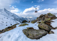 Aguille Du Midi cable Car,Mont Blanc, France Royalty Free Stock Photography
