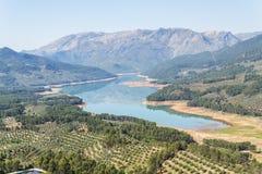 Aguilon utkik, Hornos de Segura, Guadalquivir flod sikt, Jaen Arkivbild