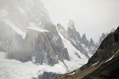 Aguja Bifida in the Cerro Torre Group at the Los Glaciares National Park, Argentina. Aguja Bifida in the Cerro Torre Group at the Los Glaciare National Park in stock image