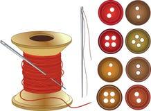 Aguja, bobina de los hilos del rojo y botones stock de ilustración
