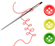 Aguja, cuerda de rosca y botones Fotografía de archivo