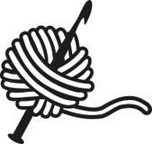 Aguja de ganchillo con lanas ilustración del vector