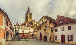 Aguja evangélica de la iglesia, Sibiu, Rumania Fotos de archivo